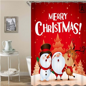 3D Printed Shower Curtain Simple Cozy Merry Christmas Shower Curtain Waterproof Mouldproof Bathroom Curtain
