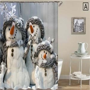 Creative 3D Printed Shower Curtain Frozen Snowman Shower Curtain Waterproof Mouldproof Bathroom Curtain
