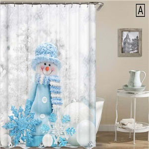 Creative Christmas Shower Curtain Cute Snowman 3D Printed Shower Curtain Waterproof Mouldproof Bathroom Curtain