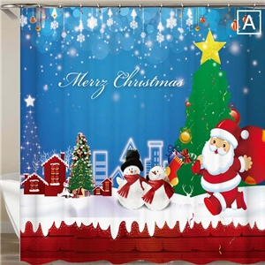 Cozy Christmas Shower Curtain Snowman Santa Claus 3D Printed Shower Curtain Waterproof Mouldproof Bathroom Curtain