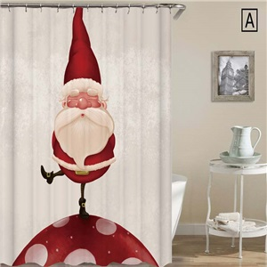 Cute Christmas Shower Curtain Simple Santa Claus 3D Printed Shower Curtain Waterproof Mouldproof Bathroom Decorative Curtain