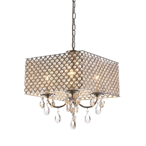 Modern Crystal Chandelier Chrome Finish with 4 Lights Sqaure