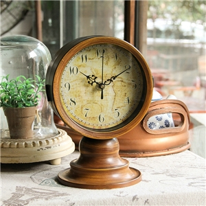Wooden Vintage Tabletop Clock Mute Dressing Mirror Shape Table Clock A/B Options