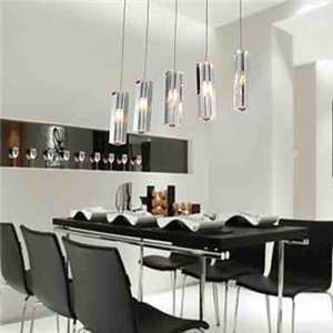 Dining Room Lighting Stainless Steel 5-Light Mini Bar Pendant Light with K9 Crystal ball Drop
