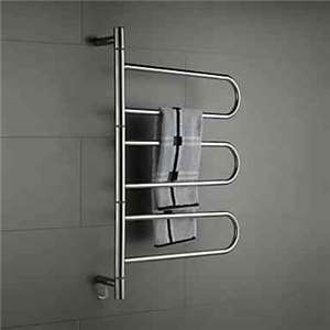 Swivel Towel Warmer 80W Swing Arm Wall Mount Circular Tube  Drying Rack