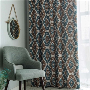 Geometric Jacquard Curtain American Retrol Chenille Curtain Living Room Bedroom Blackout Fabric