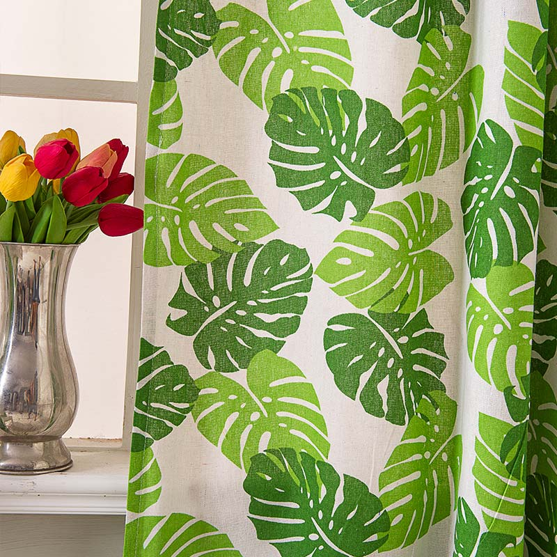 Banana Leaf Printing Curtain Nordic Style Curtain Living