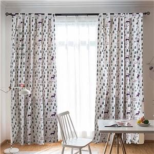 Elk Printing Curtain Simple Christmas Tree Pattern Curtain Living Room Kid's Room Fabric