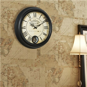 Vintage Round Wall Clock Creative Metal Mute Wall Clock