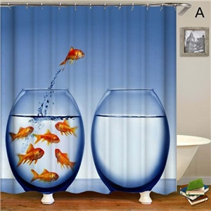 3D Printed Shower Curtain Unique Creative Fish Shower Curtain Waterproof Mouldproof Bathroom Fabric