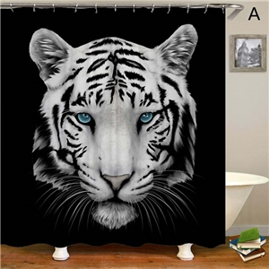 Lion Printed Shower Curtain Domineering King of Forest 3D Printerd Shower Curtain Waterproof Mouldproof Bathroom Fabric