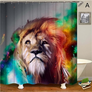 Strong Lion Printed Shower Curtain Creative Waterproof Shower Curtain Bathtoom Decorative Fabric