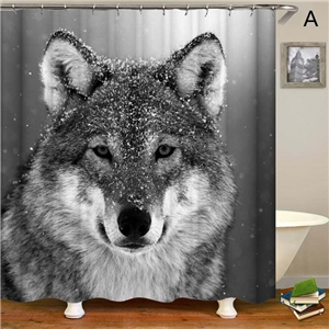 Wolf Printing Shower Curtain Personalized LIfelike Shower Curtain Waterproof Decorative Bathroom Fabric