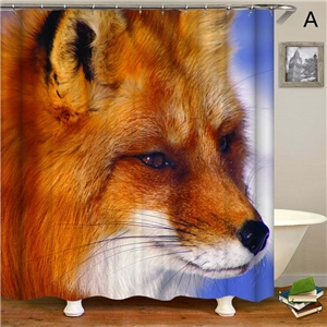 Modern Priting Shower Curtain Strong Animal 3D Printing Shower Curtain Waterproof Mouldproof Bathroom Curtain
