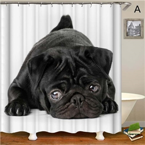 Creative Cute Shower Curtain Lifelike Dog Printing Shower Curtain Waterproof Bathroom Decorativce Curtain