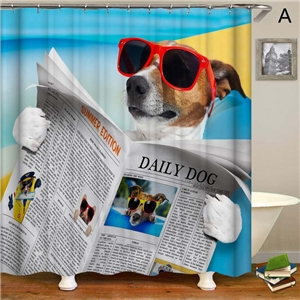 Puppy Printing Shower Curtain Waterproof Mouldproof Bathroom Curtain Cute Decorative Fabric