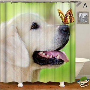 Nordic Cute Shower Curtain Simple Puppy 3D Printing Shower Curtain Waterproof Mouldproof Bathroom Decorative Fabric