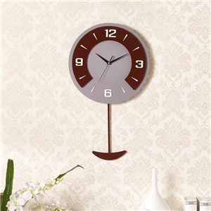 Modern Round Wall Clock Non Ticking Acrylic Wall Clock with Pendulum