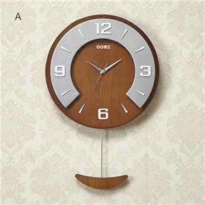 Creative Round Wall Clock Non Ticking Wall Clock with Pendulum