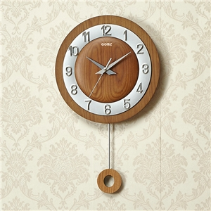 Round Non Ticking Wall Clock Modern Simple Wall Clock with Pendulum