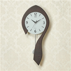Modern Spoon Wall Clock Simple Wooden Non Ticking Wall Clock with Pendulum