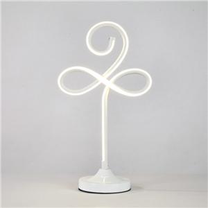 Contemporary Simple LED Table Lamp Aluminum + Iron Fixture Acrylic Shade LED Table Lamp Oxalis Shape Desk Light