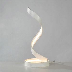 Contemporary Simple LED Table Lamp Aluminum + Iron Fixture Acrylic Shade LED Table Lamp Helix Silk Ribbon Shape Desk Light