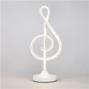 Contemporary Simple LED Table Lamp Aluminum + Iron Fixture Acrylic Shade LED Table Lamp Musical Note Shape Desk Light