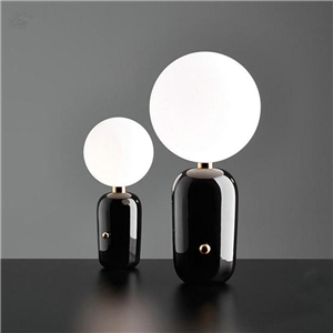 Nordic Simple Talbe Lamp Glass Round Ball Table Lamp Bedside Study Desk Light with Capsule Shape Fixture