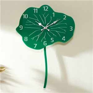 Green Lotus Leaf Wall Clock Modern Acrylic Mute Wall Clock