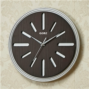 Wooden Round Wall Clock Oreo Shape Non Ticking Wall Clock A/B Options