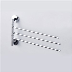 Chrome Finish Trible Wall Mount Movable Towel Bar