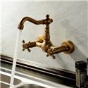 Antique Kitchen Faucet Brass Wall Mount Swivel Spout Kitchen Tap
