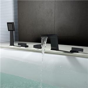 Black Waterfall Bathtub Tap Deck Mounted Fixer Bathtub Faucet Five Holes