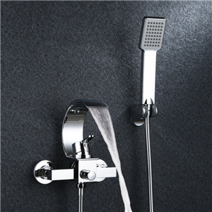 Wall Mounted Bathtub Faucet Set Hot and Cold Water Bathtub Faucet with Handshower