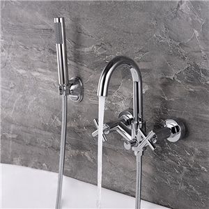 Chrome Bathtub Faucet Set In-wall Bathtub Faucet with Handshower Hot and Cold Water Faucet