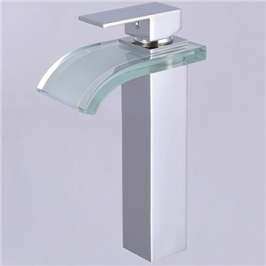 Square Glass Waterfall Basin Mixer Tap(tall)