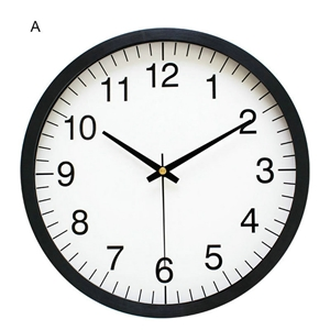 Simple Round Wall Clock Plastic Edge Non Ticking Wall Clock 10inch