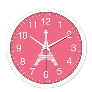 Plastic Round Wall Clock Eiffel Tower Mute Clock 10inch