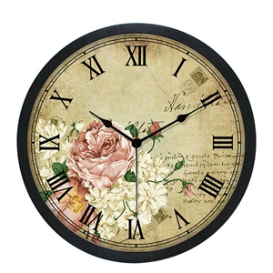Vintage Flower Wall Clock Black Plastic Edge Round Wall Clock Mute Decorative Clock 10inch