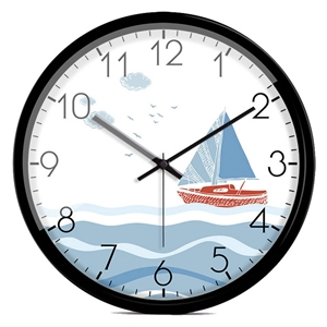 Cartoon Sailing Boat Wall Clock Seaside Pattern Round Shape Mute Wall Clock 14inch