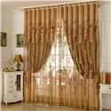 Retro Sheer Curtain Jacquard Living Room Brown
