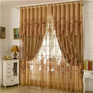 Retro Sheer Curtain Jacquard Living Room Brown
