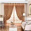 Modern Minimalist Voile Curtain Brown Jacquard Living Room Window Sheer (One Panel)