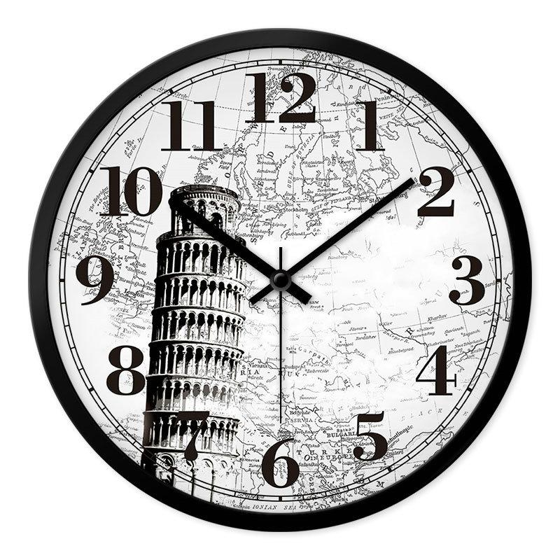 Famous Bulidings Wall Clock Vintage Designer Mute Wall