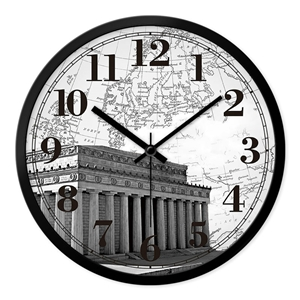 Vintage Designer Wall Clock Famous Buildings Mute Wall Clock 12inch