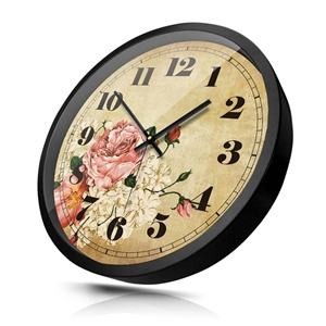 Peony Wall Clock Vintage Non Ticking Wall Clock 12inch