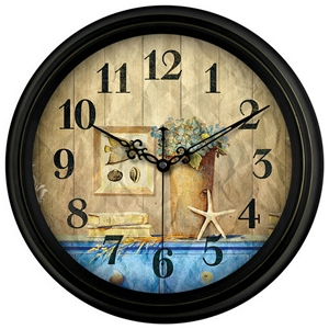 Vintage Simple Round Wall Clock Designer Non Ticking Wall Clock Seaside Scene/Flower/Arabic Numerals 14inch