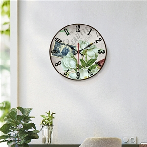 Flower Background Wall Clock Wooden Round Non Ticking Wall Clock 12inch