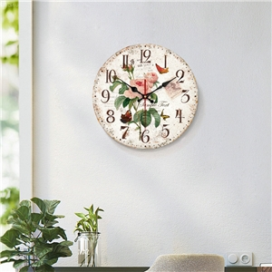 Vintage Wooden Wall Clock Fresh Flower Mute Wall Clock 12inch